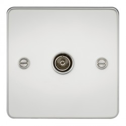 Knightsbridge Flat Plate Polished Chrome 1 Gang Non-Isolated TV Coaxial Outlet
