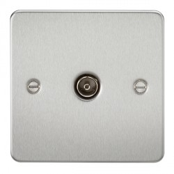 Knightsbridge Flat Plate Brushed Chrome 1 Gang Non-Isolated TV Coaxial Outlet