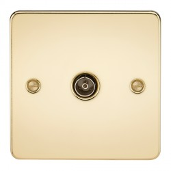 Knightsbridge Flat Plate Polished Brass 1 Gang Non-Isolated TV Coaxial Outlet