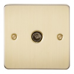 Knightsbridge Flat Plate Brushed Brass 1 Gang Non-Isolated TV Coaxial Outlet