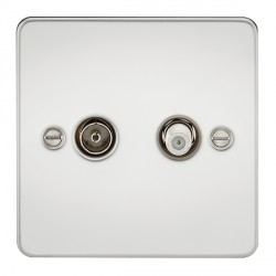 Knightsbridge Flat Plate Polished Chrome Isolated Sat/TV Outlet