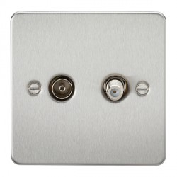 Knightsbridge Flat Plate Brushed Chrome Isolated Sat/TV Outlet