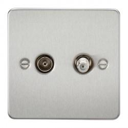 Knightsbridge Flat Plate Brushed Chrome Isolated Sat/TV Outlet