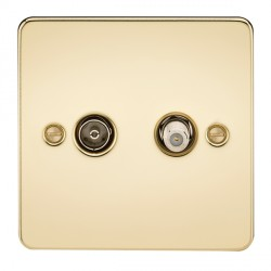 Knightsbridge Flat Plate Polished Brass Isolated Sat/TV Outlet