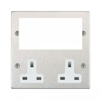 Hamilton Hartland Media Plates Satin Steel Media Plate containing 2 Gang 13A Unswitched Socket + EURO4 aperture with White Insert