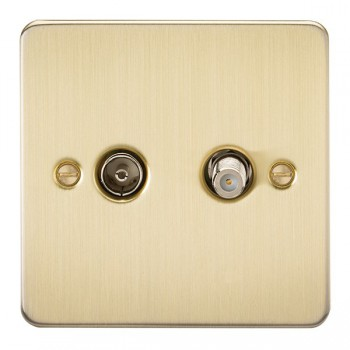 Knightsbridge Flat Plate Brushed Brass Isolated Sat/TV Outlet