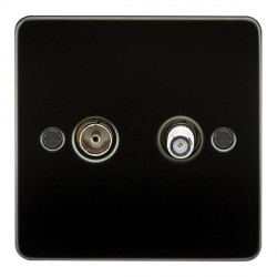 Knightsbridge Flat Plate Gunmetal Isolated Sat/TV Outlet