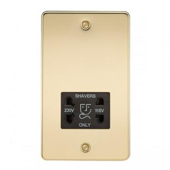 Knightsbridge Flat Plate Polished Brass Dual Voltage 115V/230V Shaver Socket - Black Insert