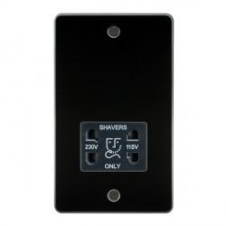 Knightsbridge Flat Plate Gunmetal Dual Voltage 115V/230V Shaver Socket - Black Insert