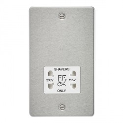 Knightsbridge Flat Plate Brushed Chrome Dual Voltage 115V/230V Shaver Socket - White Insert