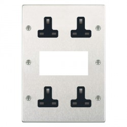 Hamilton Hartland Satin Steel Media Plate containing 2 Gang 13A Unswitched Socket, 2 Gang 13A Unswitched Socket, EURO4 aperture with Black Insert