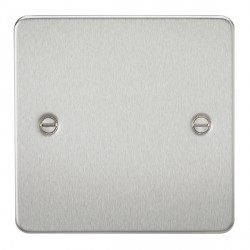 Knightsbridge Flat Plate Brushed Chrome 1 Gang Blank Plate