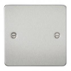 Knightsbridge Flat Plate Brushed Chrome 1 Gang Blank Plate