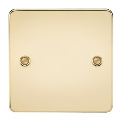 Knightsbridge Flat Plate Polished Brass 1 Gang Blank Plate