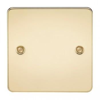 Knightsbridge Flat Plate Polished Brass 1 Gang Blank Plate