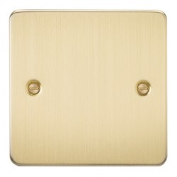 Knightsbridge Flat Plate Brushed Brass 1 Gang Blank Plate