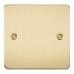 Knightsbridge Flat Plate Brushed Brass 1 Gang Blank Plate