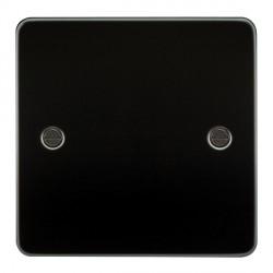 Knightsbridge Flat Plate Gunmetal 1 Gang Blank Plate