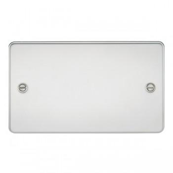 Knightsbridge Flat Plate Polished Chrome 2 Gang Blank Plate