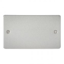Knightsbridge Flat Plate Brushed Chrome 2 Gang Blank Plate