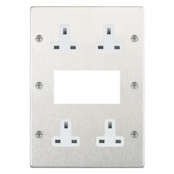 Hamilton Hartland Satin Steel Media Plate containing 2 Gang 13A Unswitched Socket, 2 Gang 13A Unswitched Socket, EURO4 aperture with White Insert