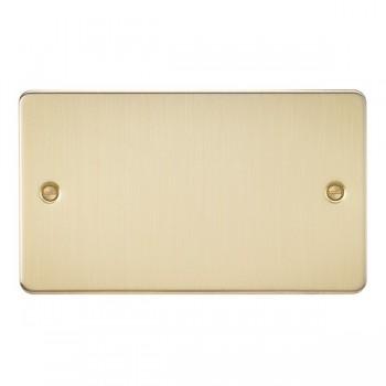Knightsbridge Flat Plate Brushed Brass 2 Gang Blank Plate