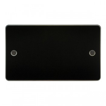 Knightsbridge Flat Plate Gunmetal 2 Gang Blank Plate
