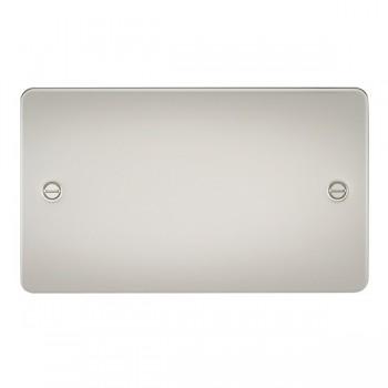 Knightsbridge Flat Plate Pearl 2 Gang Blank Plate