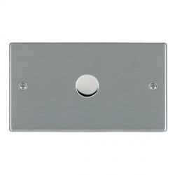 Hamilton Hartland Satin Steel Push On/Off Dimmer 1 Gang 2 way 1000W with Satin Steel Insert