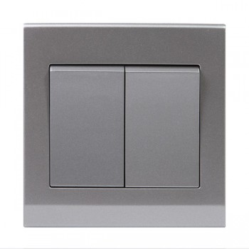 Retrotouch Simplicity Mid Grey 2 Gang 2 Way Mechanical Light Switch
