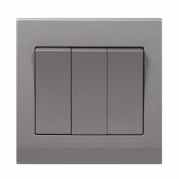 Retrotouch Simplicity Mid Grey 3 Gang 2 Way Mechanical Light Switch