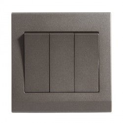 Retrotouch Simplicity Charcoal 3 Gang 2 Way Mechanical Light Switch