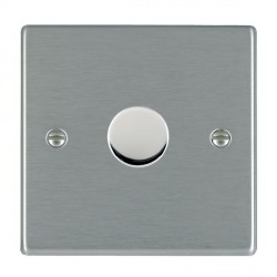 Hamilton Hartland Satin Steel Push On/Off Dimmer 1 Gang Multi-way 250W/VA Trailing Edge with Satin Steel Insert