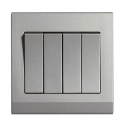 Retrotouch Simplicity Mid Grey 4 Gang 2 Way Mechanical Light Switch