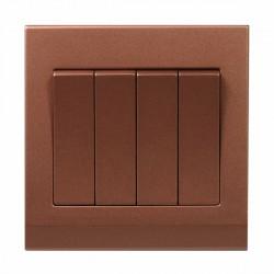 Retrotouch Simplicity Bronze 4 Gang 2 Way Mechanical Light Switch