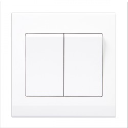 Retrotouch Simplicity White 2 Gang 2 Way Retractive Light Switch