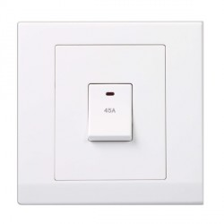 Retrotouch Simplicity White 45A DP Switch with Neon