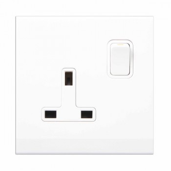 Retrotouch Simplicity White 13A DP Single Switched Socket