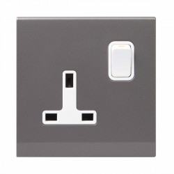 Retrotouch Simplicity Mid Grey 13A DP Single Switched Socket