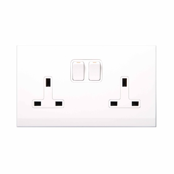 retrotouch simplicity white 13a dp double switched socket