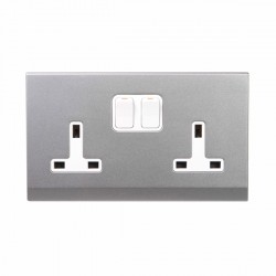 Retrotouch Simplicity Mid Grey 13A DP Double Switched Socket