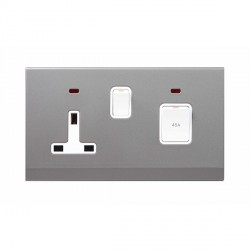 Retrotouch Simplicity Mid Grey 45A DP Cooker Switch and 13A Switched Socket with Neon
