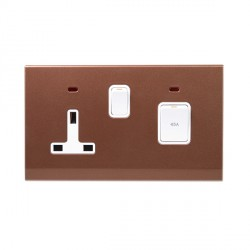 Retrotouch Simplicity Bronze 45A DP Cooker Switch and 13A Switched Socket with Neon