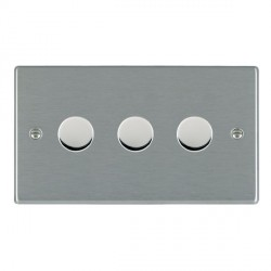 Hamilton Hartland Satin Steel Push On/Off Dimmer 3 Gang 2 way 400W with Satin Steel Insert