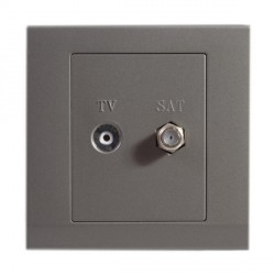 Retrotouch Simplicity Mid Grey TV/Satellite Socket
