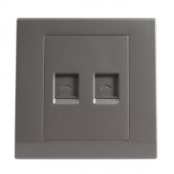 Retrotouch Simplicity Mid Grey Dual RJ45 Data Socket