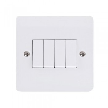 Click Mode 4 Gang Single Plate 10amp 2 Way White PVC Switch at UK