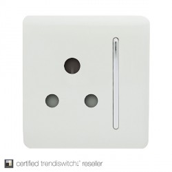Trendi White 15A 1 Gang Round Pin Switched Socket
