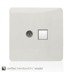 Trendi White Ethernet/TV Co-axial Socket