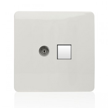 Trendi White Telephone/TV Co-axial Socket